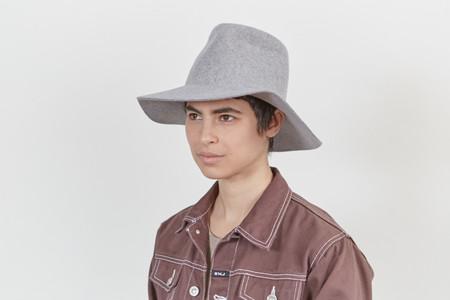 Clyde Wide Brim Pinch Hat in Heather Grey Wool