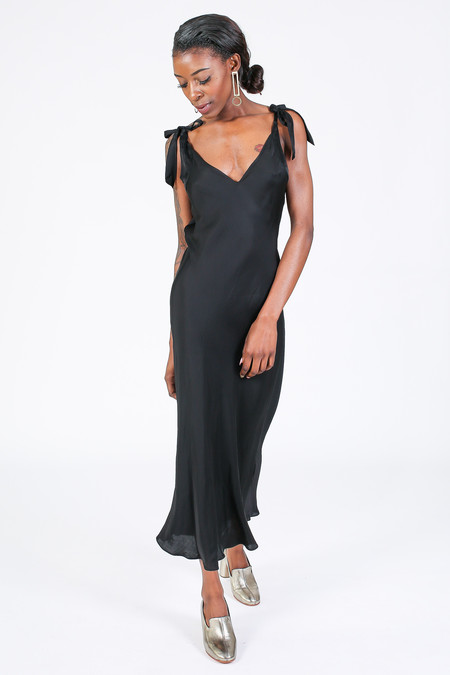Raquel Allegra Bias bow maxi dress in black