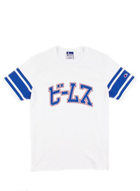 Men's Champion Crewneck T-shirt Stripe Sleeve White