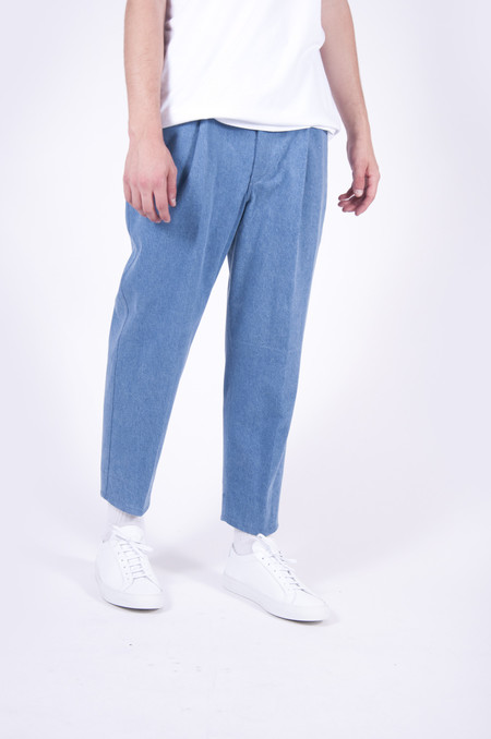 4 Horsemen Supplies Pleated Crop Trouser Washed Denim
