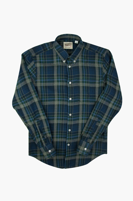 Naked & Famous Regular Shirt Herringbone Soft Check Green/Navy