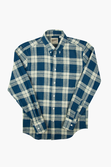 Naked & Famous Regular Shirt Natural Cotton Linen Check Navy