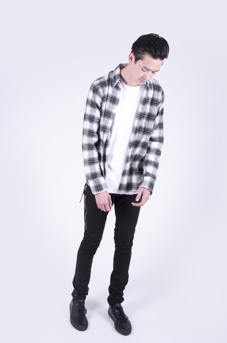 Naked & Famous Regular Shirt Ombre Soft Check Grey