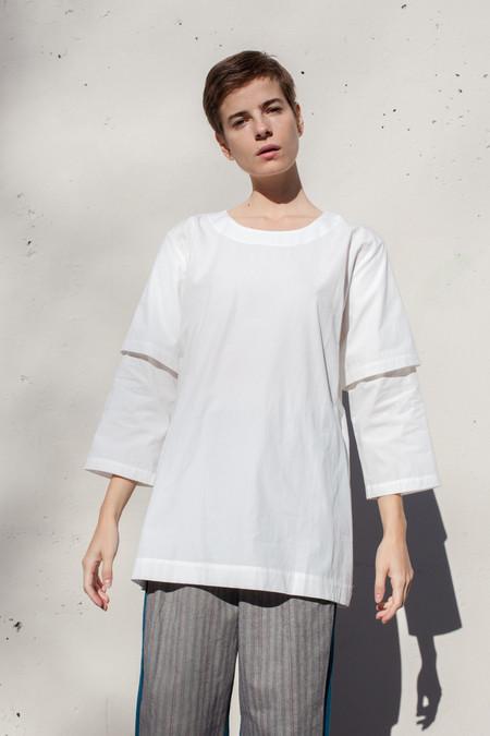 Rowena Sartin Double Sleeve Fake T-Shirt in White Cotton
