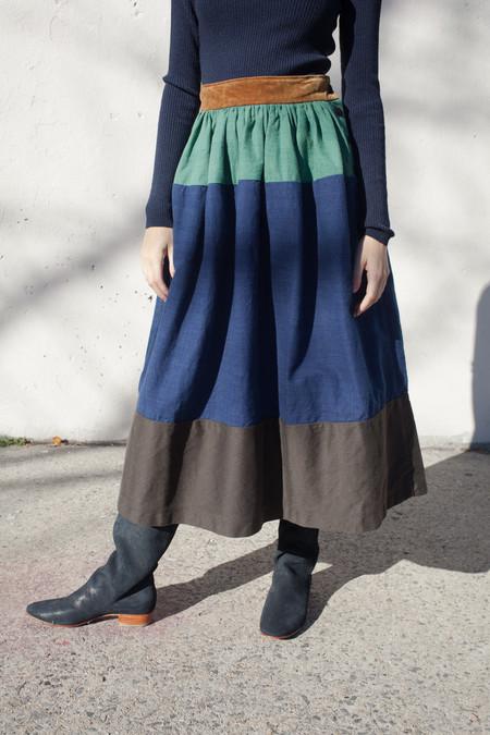 Visvim Elevation Long Skirt in Indigo
