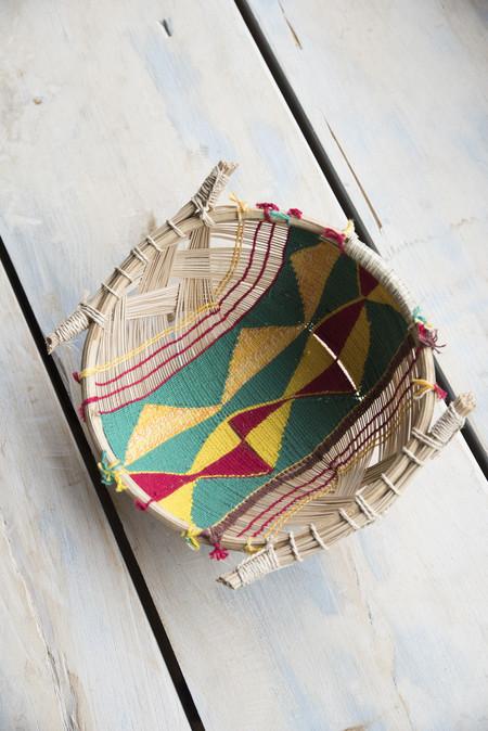 Incausa Small Mehinako Fishing Basket in Green/Red/Yellow