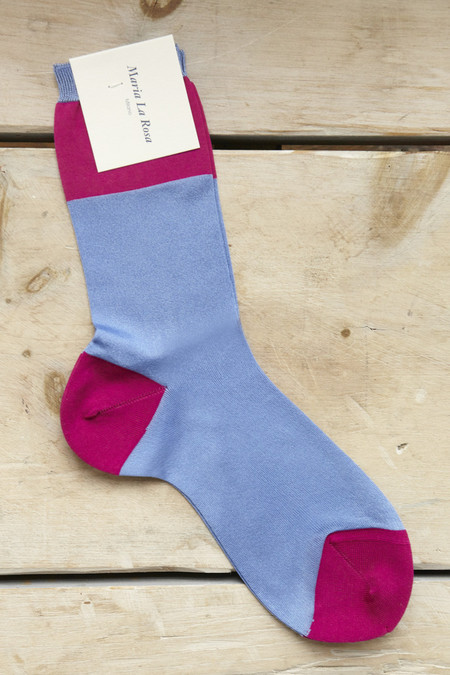 Maria La Rosa Wide Stripe Socks in Peri & Fuschia
