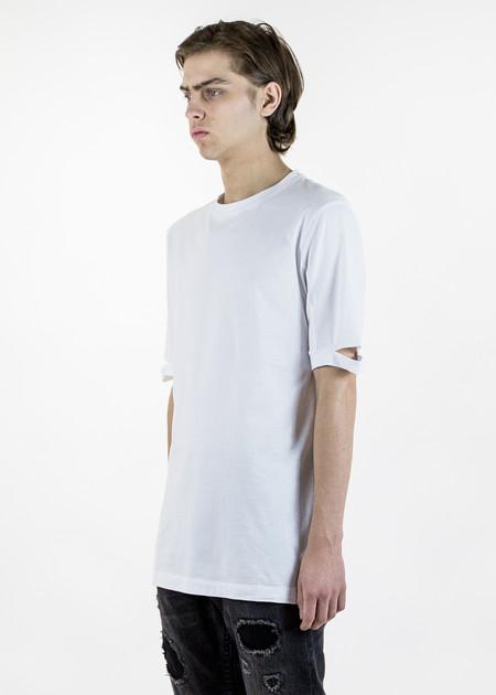 Men's Helmut Lang White Slash Sleeve T-Shirt