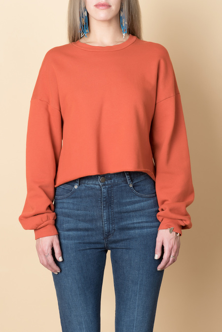 Lacausa Cropped Pullover In Blood Orange