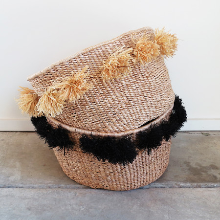 Indego Africa Pom Pom Banana Leaf Basket