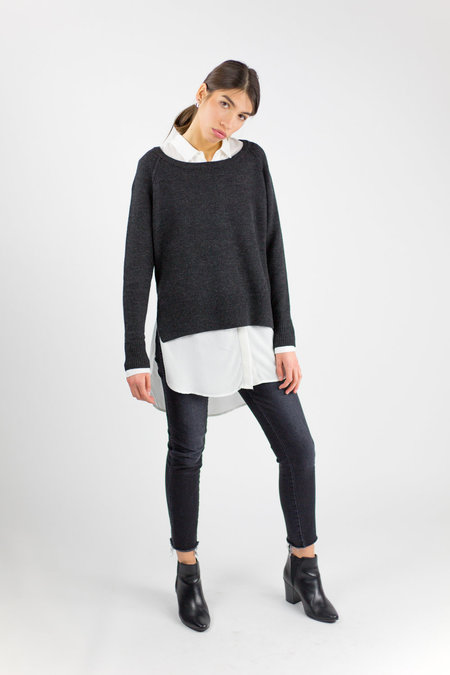 7115 by Szeki Exposed Seams Sweater - Charcoal