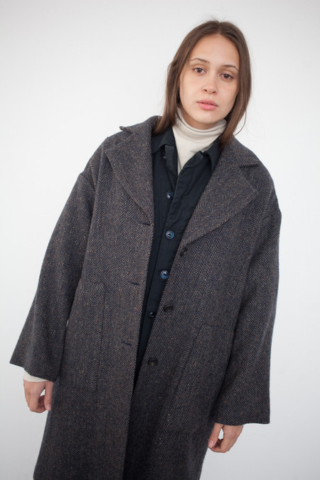 petria lenehan Ulster Coat in Tweed Blue Gray