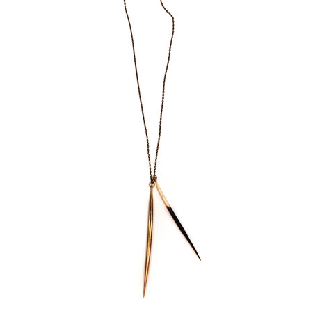 K/LLER COLLECTION Porcupine Quill and Brass Quill Necklace