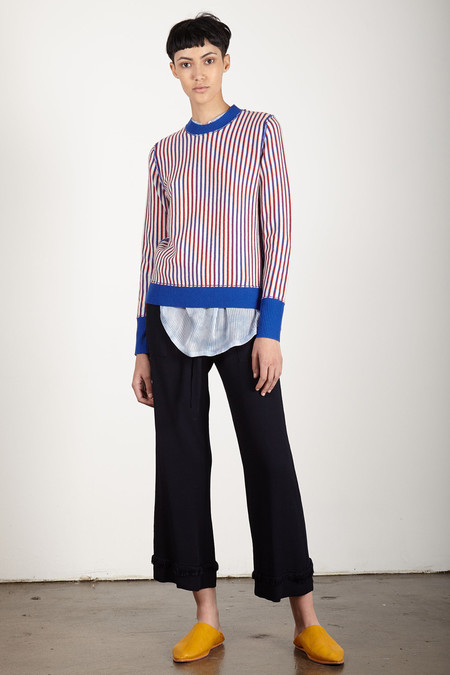 Raquel Allegra CREME PUNK STRIPE FITTED CREW
