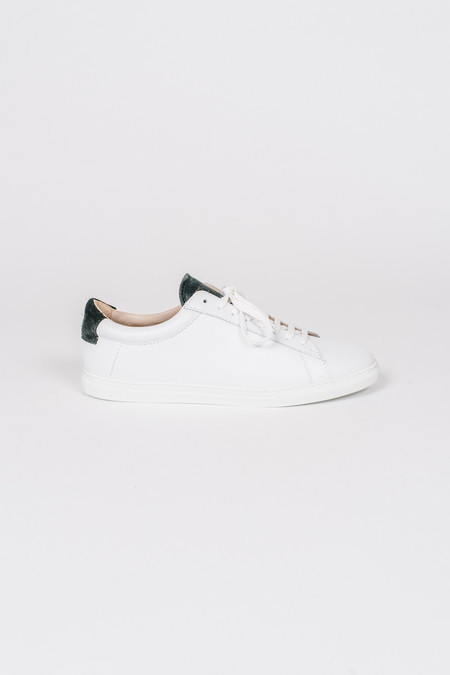 Zespa White Sneaker with Green Suede