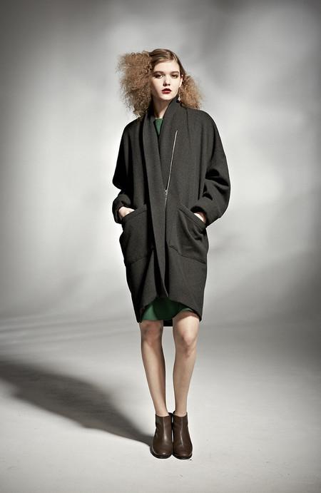 H. Fredriksson W 15 Round Coat Black Wool