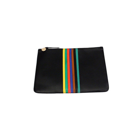 Clare V. Flat Clutch Supreme in Black Veg + Rainbow Stripes