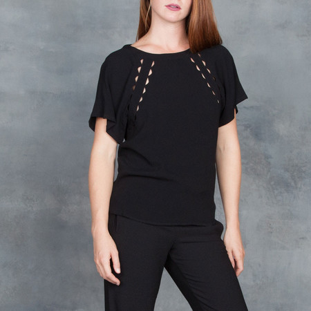 Sessun Regio Flutter Sleeve Blouse in Black