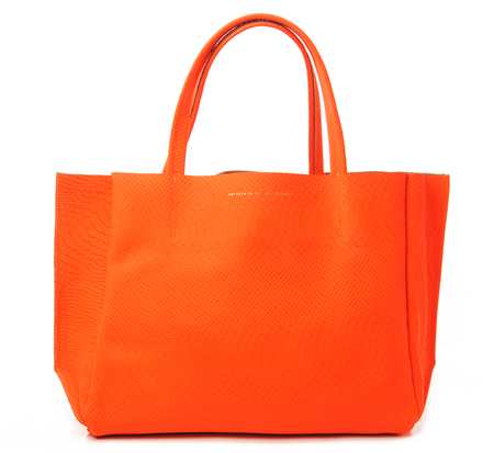 Ampersand as Apostrophe Vintage Snake Skin Embossed Neon Orange Sideways Tote