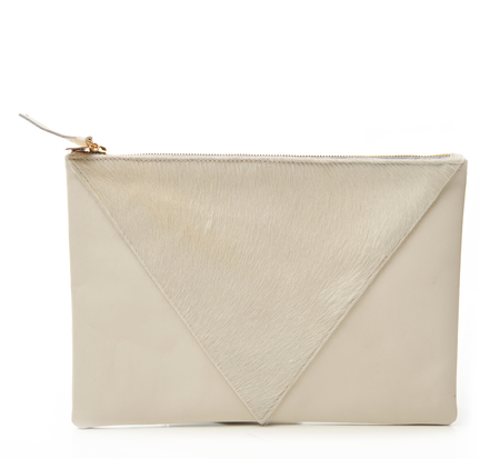 Clare V Cream Hair Patchwork Margot Flat Clutch
