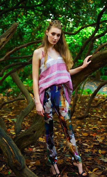 Aniimiism Burnout Silk Chiffon Straight Leg Pant
