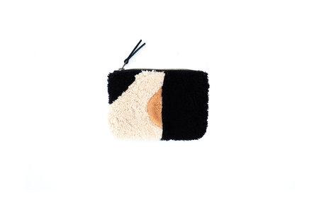 BLACK + TAN PATCHWORK SHEEPSKIN POUCH