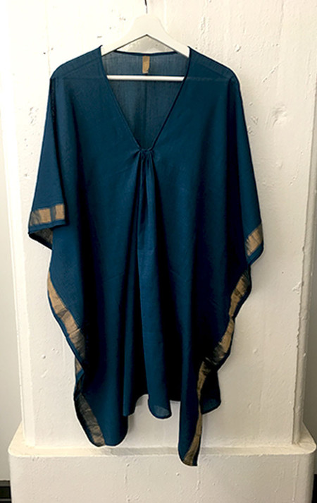 Two New York Teal  caftan with gold border