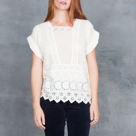 Ulla Johnson Adrienne Scalloped Eyelet Victorian Blouse