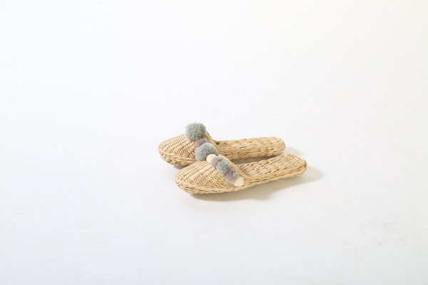 Folk Fortune handwoven slippers in Charcoal Grey