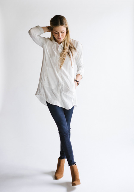 Sunday Supply Co. White/Gray Pocket Tunic