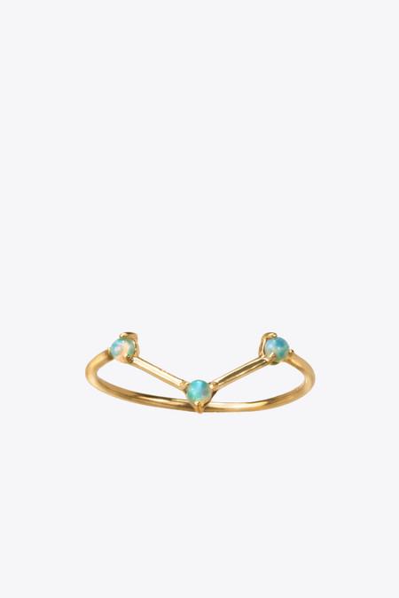 Wwake Inc. Three step opal and 14k gold ring