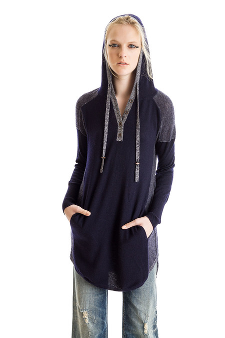 Paychi Guh Cashmere Sweater Dress Hoodie Navy/Ivory