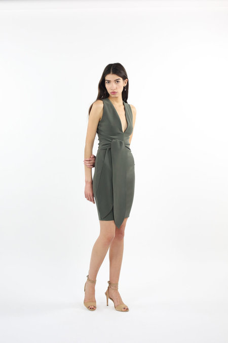 Bec & Bridge Montana Plunge Tie Dress - Olive