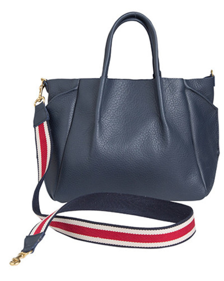 Oliveve zoe tote in navy pebble cow leather striped cotton cross body strap