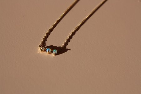 Wwake Opal & Diamond Three Points Necklace