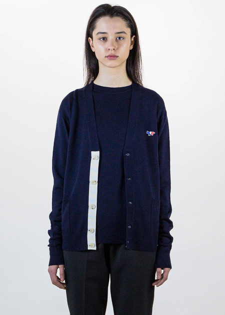 Maison Kitsune Navy Tricolor Fox Patch Cardigan