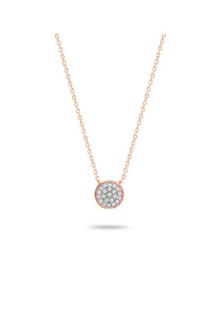 Adina Reyter Solid Pave Disc Necklace 14k Rose Gold