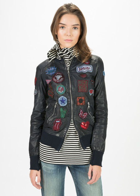 Giorgio Brato Knit Hem Leather Jacket with Patches