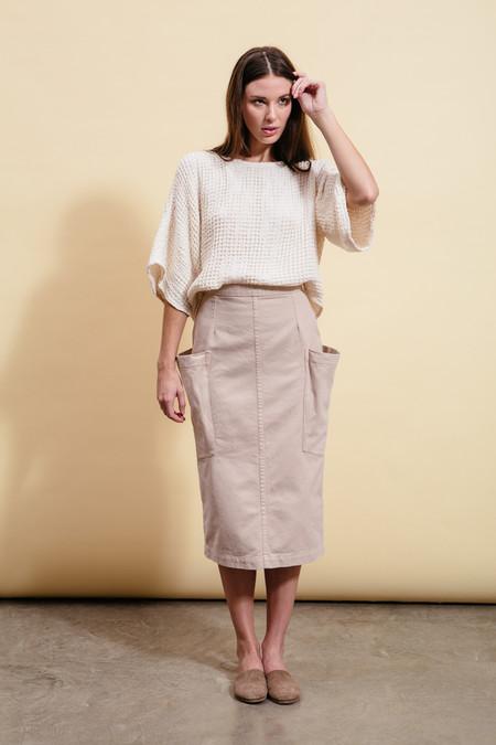 Aliya Wanek Sand Denim Skirt