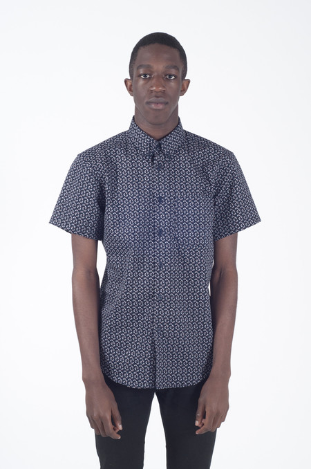 Naked & Famous Short Sleeve Shirt Spring Flower Navy