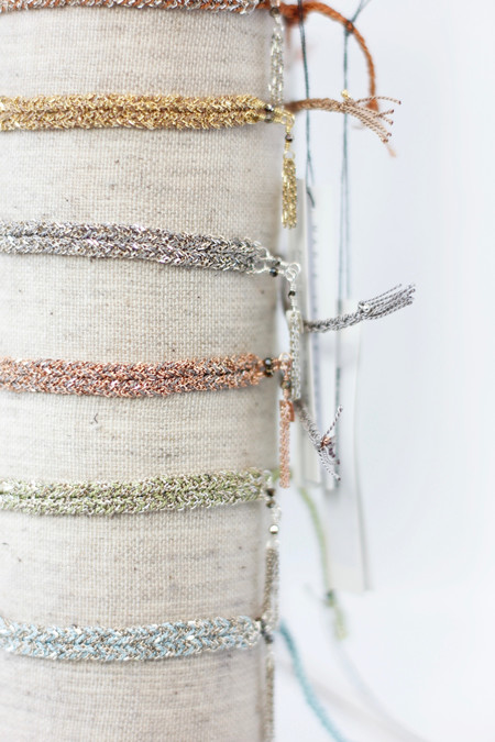 Marie Laure Chamorel Chain and silk adjustable bracelets