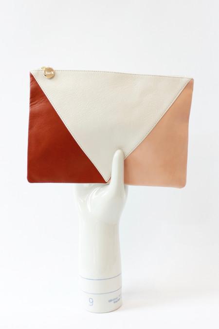 Clare V. patchwork V flat clutch