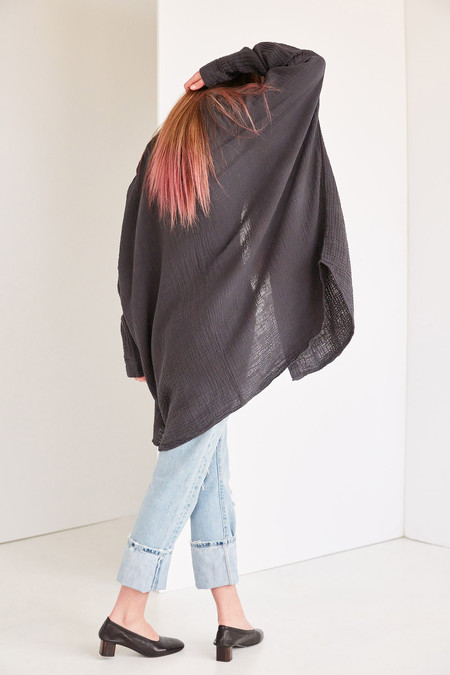 Black Crane Double Gauze Square Shirt - Dark Grey