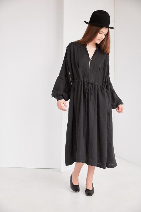 Black Crane Poet Dress - Black