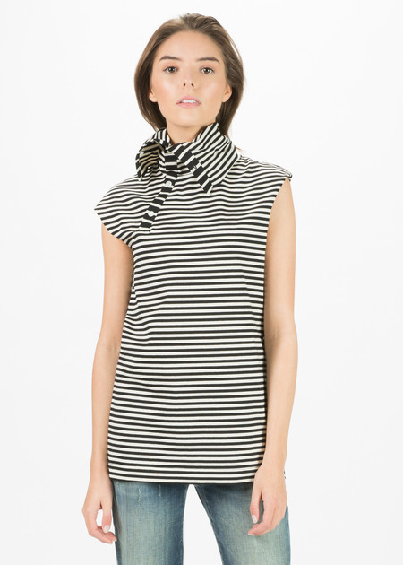 Nocturne #22 Sleeveless Asymmetric Turtleneck