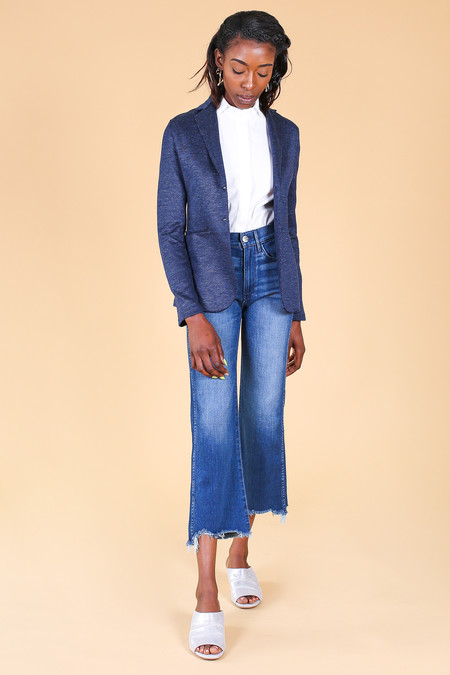 Harris Wharf London Linen Melange Blazer in Navy Blue