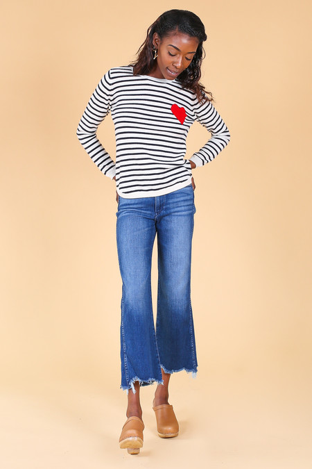 Chinti and Parker Breton Heart Sweater in Cream/navy/red