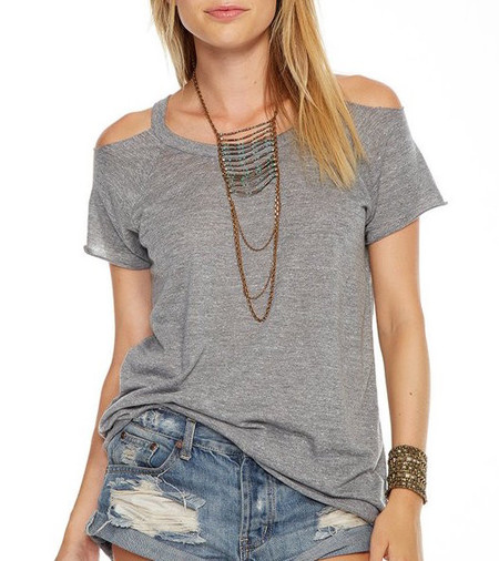 Chaser LA Triblend Cold Shoulder T-Shirt