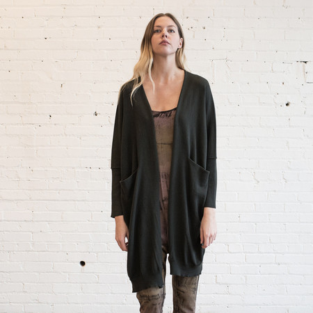 Lauren Manoogian Fine Wide Cardigan Pine Black