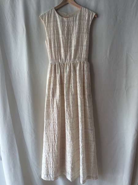 Amanda Moss Long ivory seersucker Dress